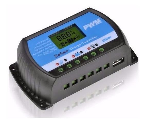 Controlador/carga De Painel Solar 20a - Pwm /lcd/usb 12v-24v