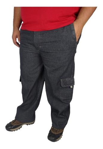 Imagem 1 de 4 de Calça Jeans Cos Elastico Masculina Plus Size Cargo Grande Ótimo Acabamento Perfeita Pronta Entrega Promoção