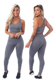 2 Conjuntos Legging + Top Cinza E Preto Liso Moda Fitness