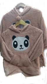 Blusa Feminina Mae E Filha Estampa Panda Capuz Bolso