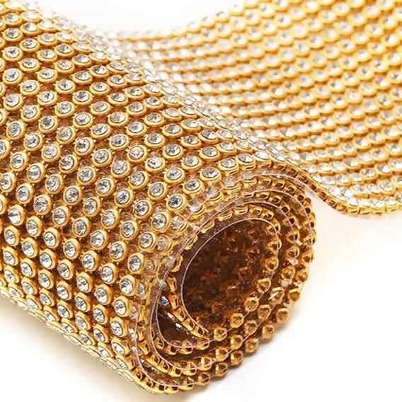 Manta De Strass 7 Cm X 45 Cristal Dourada 100% Original