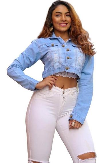 Jaqueta Jeans Feminina Curta Moda Feminina Pronta Entrega