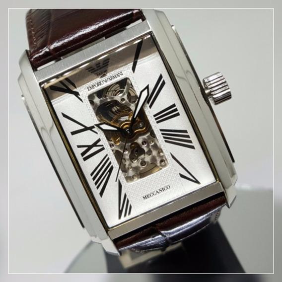 Relógio Masculino Automático Emporio Armani Original Couro