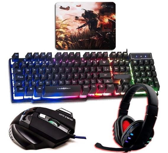 Kit Gamer Teclado Semi Mecânico +mouse 7 Botões +headset Usb