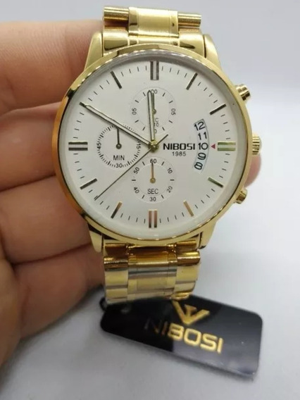 Relógio Nibosi Dourado Branco Masculino Original Funcional