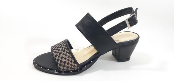 Sandalias Zapatos De Taco Cuero Vacuno