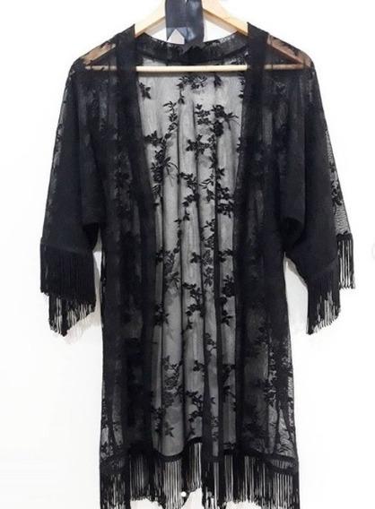 Kimono Feminino De Renda Com Franja Carmen Code