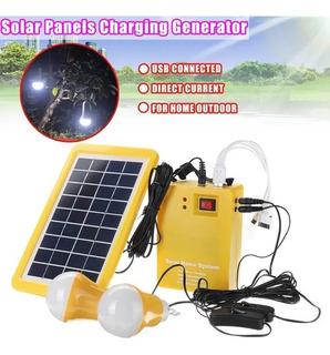 Kit Panel Solar +2bombillos+bateria+ventilador+carga Celular