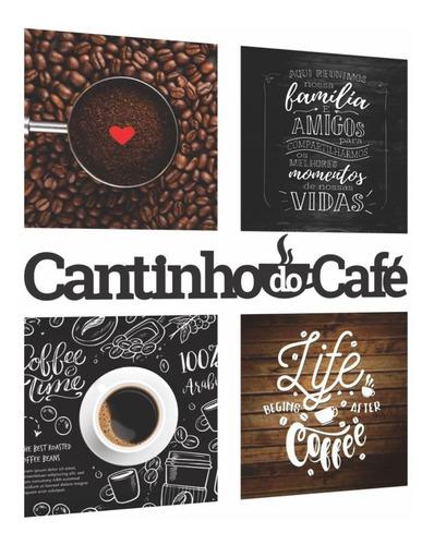 Imagem 1 de 2 de Kit Cantinho Do Café Com Quadros E Frase