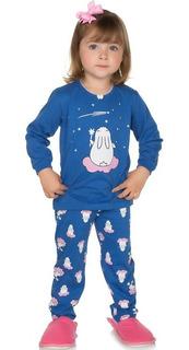 Pijama Bebê Menina Meia Malha Longo Inverno Gola Com Picueta