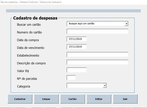Planilha Excel Controle De Cartão De Crédito