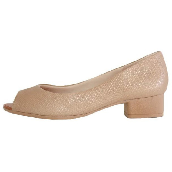 Sapato Salto Médio Usaflex Confortável Couro Peep Toe 6803
