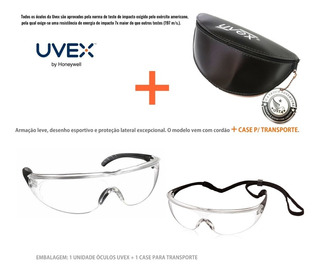Óculos Uvex Proteção Milen Antiembaçante Antirrisco Com Case