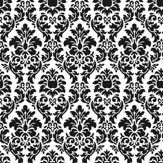 Papel Muresco Vinilizado Amarie Damasco Negro 371 Soul