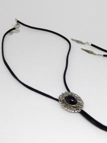 Colar Feminino Choker Banho Prata 925 Gravatinha Pedra Lindo