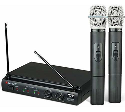 Imagem 1 de 3 de Microfone De Mão S/ Fio Duplo Pilha 2aa Kru302 Preto Karsect