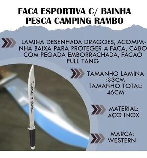 Faca Esportiva C/ Bainha Pesca Camping Rambo Casa Caça