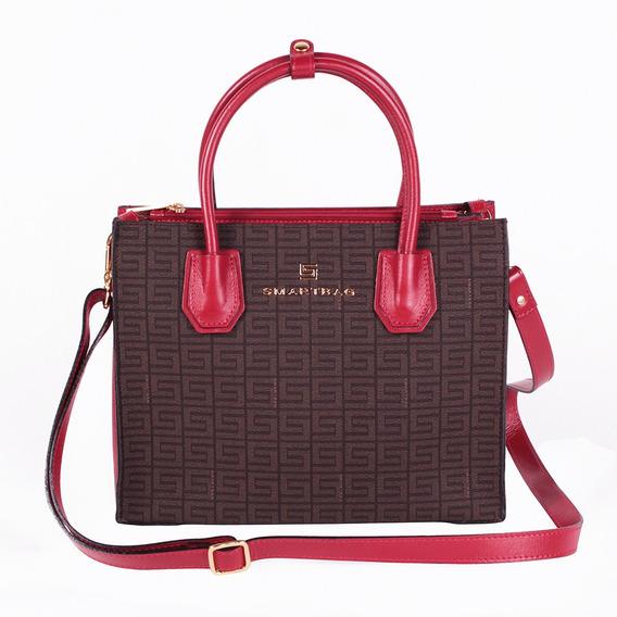 Bolsa Satchel Chocolate/vermelho Smartbag