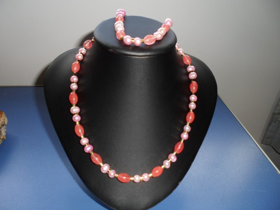 Conjunto Perola Barroca Rosa E Cristal Cereja Oval Colar 45c