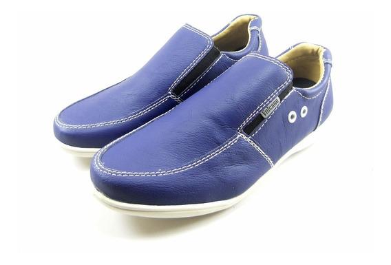 Zapato Náutico De Hombre Sport Casual Negro Suela Y Azul