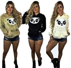 Blusa Casaco De Frio Feminino Ursinho De Pelucia Panda