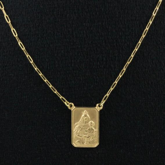 Escapulário Ouro 18k Sagrado Coração Jesus E Nossa Senhora