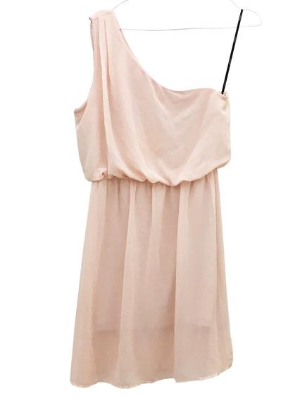 Vestido Forever 21 Nuevo!!! Gasa Rosa, 1 Hombro, Talle M