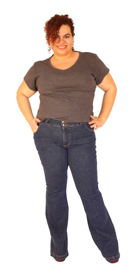 Calça Flare Zendaia Jeans Escuro Plus Size Do 46 Ao 58