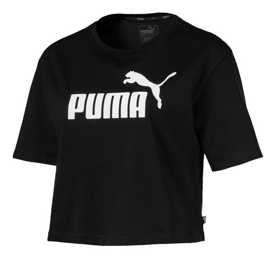 Puma Remera M/c Running Mujer Essent Cropped Negro