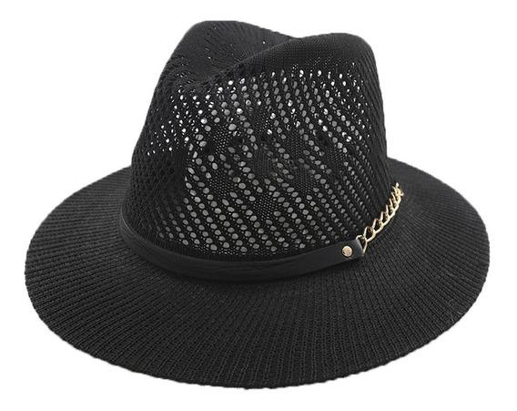 Sombrero Estilo Panama C/cinta Cuerina Y Cadena Art:290083
