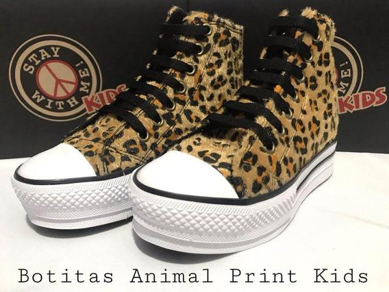 Zapatillas Stay With Me! Con Plataforma Bota Animal Print