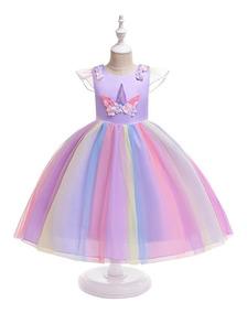 Vestido Infantil Tute Festa Aniversário Unicornio Arco Íris