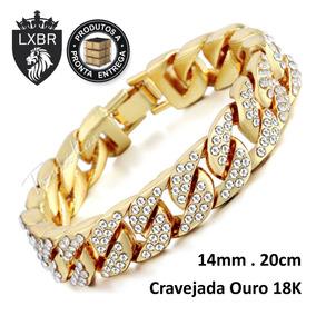 Pulseira 20cm Cravejado Ouro 18k Corrente Relogio Lxbr Bl40a