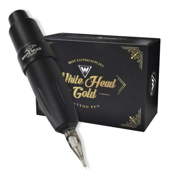 Maquina Pen White Head Gold Tattoo Tatuagem *