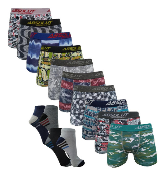 Kit 10 Cuecas Box Boxer Estampadas + 12 Pares Meias