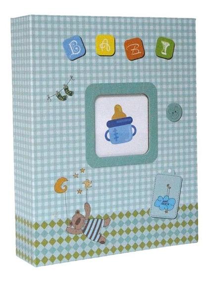 Álbum Para 200 Fotos 10x15 - Bebê Azul Mamadeira