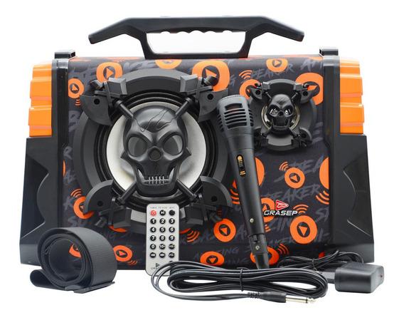 Caixa De Som Amplificada Bluetooth 120w Rms Microfone Fm Sd