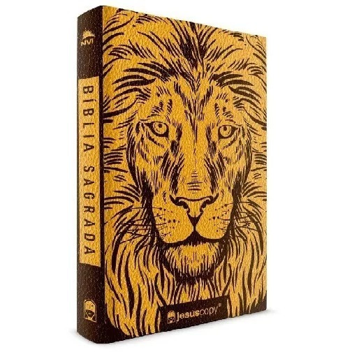 Bíblia Nvi Jesuscopy Leão Luxo Capa Flexível Dourado