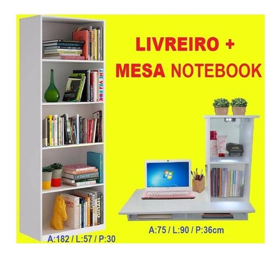 Mesa Estudo Notebook Suspensa Y + Livreiro
