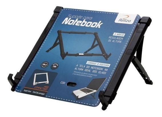 Suporte Para Notebook Regulável Preto Abs Reliza Nr17