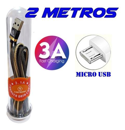 Imagem 1 de 3 de Cabo Usb Micro Usb 2 Metros 2a Android Carga Rápida