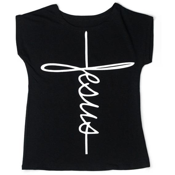 Blusa T-shirt Menina Infantil Estampa Fé Cristã Manga Curta