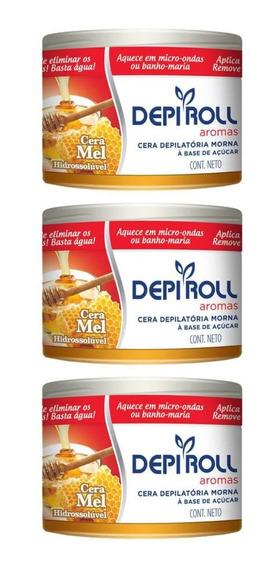 Depiroll Mel Cera Depilatória Morna 400g (kit C/03)