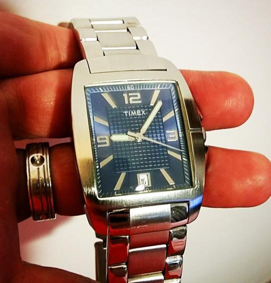 Relógio Timex Ti27741 Stainless Steel Analógico. Fundo Azul.