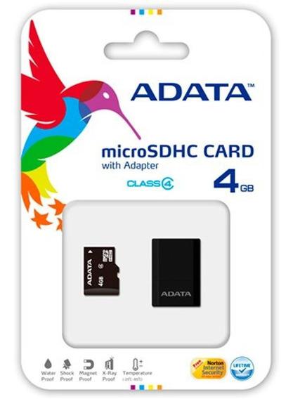 Cartão De Memória Adata Class 4 Micro Sdhc C/adapt Sd 4gb Au