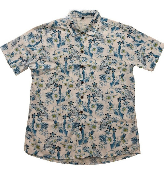 Camisa Masculina Floral Estampa Havaiana Manga Curta Chamble