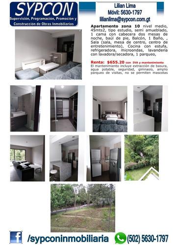 Apartamento Estudio Semiamueblado Zona 10
