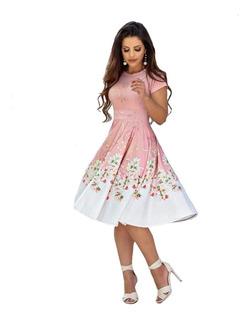 Vestido Midi Estampado Moda Feminina Pronta Entrega