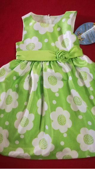 Vestido Verde Con Flores Blancas. Nena Talle 2.