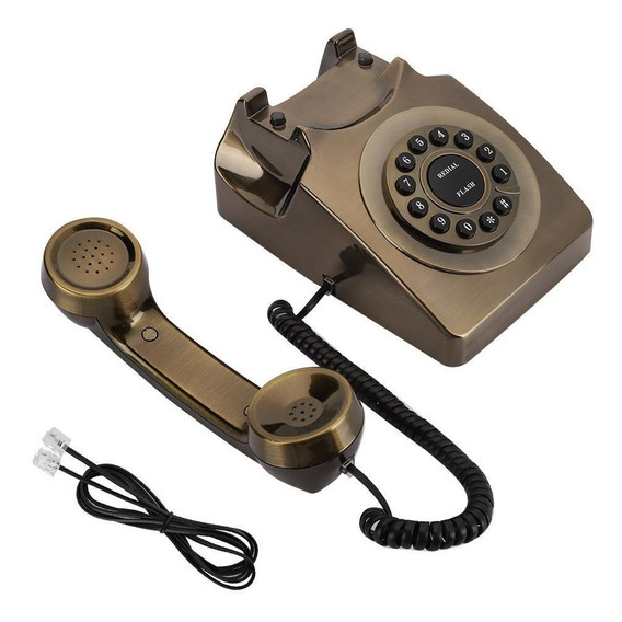 Wx-3123# Teléfono De Bronce Antiguo Teléfono Fijo Teléfono D